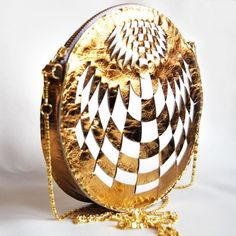 Gold and white leather purse