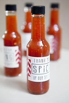DIY Weddings: Party Favor Projects and Ideas. Spice things up by sending your guests home with personalized bottles of hot sauce. >> http://www.diynetwork.com/decorating/diy-weddings-party-favor-projects-and-ideas/pictures/index.html?soc=pinterest