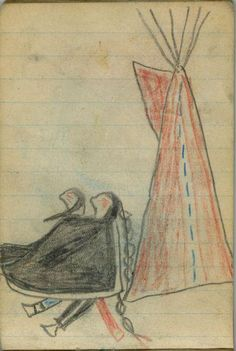 Plains Indian Ledger Art: Wild Hog Ledger-Schøyen - COURTING: Red Tipi and Man and Woman Covered in Black Blanket