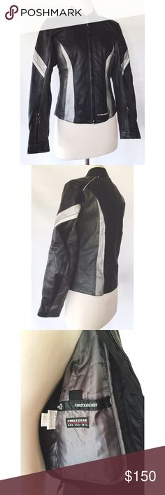 Women's Leather Motorcycle Jacket Black and grey sophisticated Firstgear protective bike jacket. Lined, with inside bungee pockets. Sold my bike, never even got to wear this. My loss your gain! FirstGear Jackets & Coats