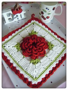 Crochet - Single Flower Potholder - Free pattern - Downloaded and printed