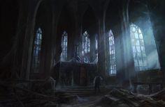 church starry wisdom castle dark cult lovecraft interior ravenloft fantasy chapel anime hall haunter scenery artwork concept rpg pete amachree