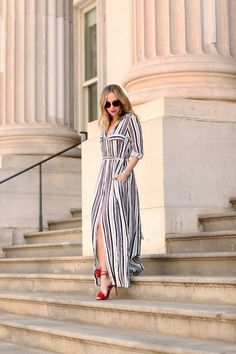 Black And White Striped Maxi Shirt Dress Long Elegant Party Dresses High Split Sexy Tie Waist Tunic Dress Long Shirt Dress, Striped Shirt Dress, Striped Long Sleeve Shirt, Striped Maxi, Brooklyn Blonde, Off Shoulder Dresses, Maxi Robes, At Least, Style Inspiration