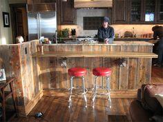 Reclaimed Barnwood kitchen island