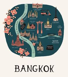 Rifle Paper Co. Bangkok Map Bangkok Map: FSC certified paper stock map Measurements: W x D Material: FSC certified paper stock Care: Wipe with a dry cloth Brand: Rifle Paper Co. Travel Maps, Asia Travel, Chiang Mai, Phuket, Watercolor World Map, New York Poster, Travel Illustration, Photos Voyages, Rifle Paper Co