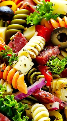 17 Healthy and Tempting Italian Salad Recipes - Our Best Life Italian Salad Recipes, Pasta Salad Italian, Salad Dressing Recipes, Salad Dressings, Best Pasta Salad, Pasta Salad Recipes, Healthy Salad Recipes, Delicious Recipes, Tri Color Pasta Salad
