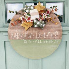Wooden Door Signs, Wooden Door Hangers, Wood Signs, Front Porch Signs, Front Door Decor, Fall Crafts, Holiday Crafts, Fall Door Hangers, Decorating Bookshelves