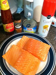 Spicy pineapple glazed salmon  1/2 cup sweet chili sauce(Asian aisle)  1 can 8 oz crushed pineapple in juice 1/2-  1 Tsp Cajun seasoning or to taste  4, 5-6 oz salmon fillets Salt and pepper to your liking Cooking spray  Turn oven to 400 degrees and put salmon in a baking dish with cooking spray and season with salt and pepper  In a bowl, combine the sweet chili sauce, pineapple, and Cajun seasoning. Be sure to mix well.  Top each piece of salmon with glaze Bake for 15-20 minutes or until…