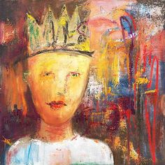 Painting of a boy with a crown.