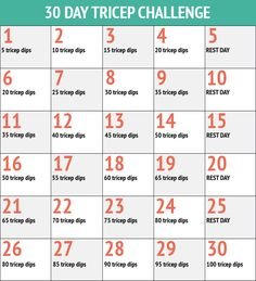 30 Day Triceps Challenge - 30 Day Fitness Challenges