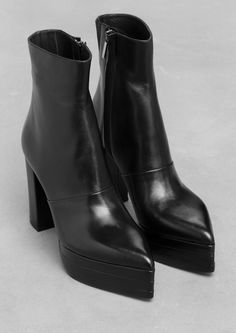 & Other Stories | Lykke Li Boots. Crafted from pitch black leather, these statement boots feature a pointy toe, platform welt and block heel.