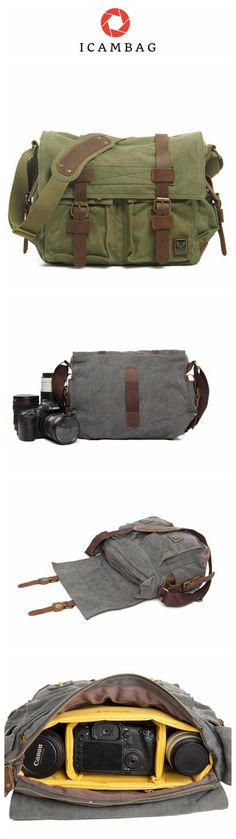 Army Green DSLR Camera Bag Leather Camera Bag, Leather Bag, Fashion Bags, Mens Fashion, Dslr Camera Bag, Crossbody Messenger Bag, Best Christmas Gifts, Gifts For Father, Canvas Leather