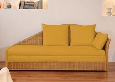 Schlafsofa Bettsofa Sofa Rattan Mais Gelb 2564. Buy now at https://www.moebel-wohnbar.de/schlafsofa-bettsofa-sofa-rattan-mais-gelb-2564.html