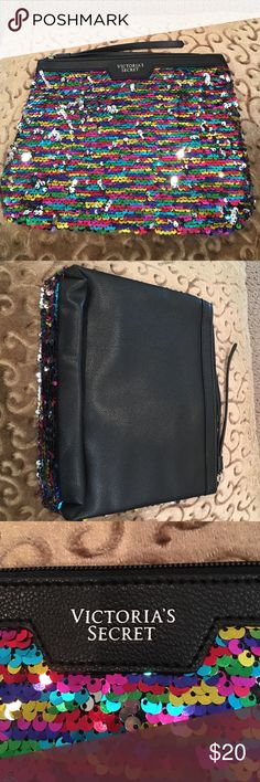Victoria Secret colorful glittery pouch It is a cute pouch that you could carry around. You could store your makeup or take it for travel Victoria's Secret Other