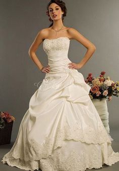 Satin Ball Gown Strapless Floor-length With Beads And Picks Up Wedding Dres