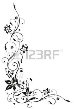 Floral element, black art photo
