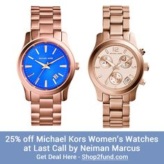 """#LastCall by #NeimanMarcus is offering an extra 25% off a selection of #MichaelKors #watches, with prices starting from $90! Plus, free shipping on all orders with coupon code """"LCFREE"""".  Shop Now: http://www.shop2fund.com/coupon/25-off-michael-kors-womens-watches/772119"""