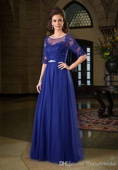 2017 Royal Blue Mother Of The Groom Dresses Bride Lace Tulle Half Sleeves Sheer Neck Long