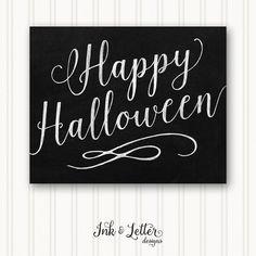 Halloween Art Print  Happy Halloween Sign  by InkandLetterDesigns