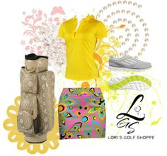 Bright golf look to make you shine on the golf course! Exclusive at lorisgolfshoppe.polyvore.com #golf #polyvore #ootd #lorisgolfshoppe