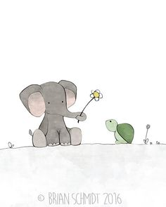 Elephant Nursery Art Print Turtle and by LowerWoodlandStudio