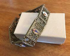 Vintage 1928 Brand Antiqued Silver Tone Link Bracelet, AB Rhinestone, Ornate   | eBay