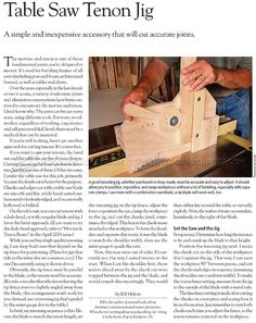 Table Saw Tenon Jig Plans - Joinery