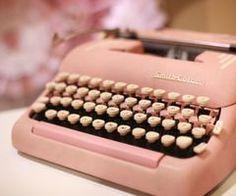 old pink typewriter