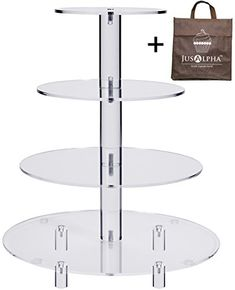 Jusalpha 4 Tier Acrylic Glass Round Cake Stand-cupcake Stand- Dessert Stand-tea Party Serving Platter for Wedding Party With Rod Feet Cupcake Tower Stand, Cupcake Display Stand, Cupcake Stand Wedding, Dessert Stand, Wedding Cake Stands, Wedding Cupcakes, Dessert Wedding, Dessert Party, Display Stands