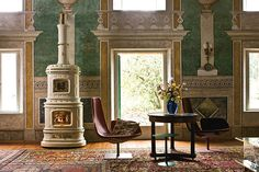 Viennese , Wood Burning Stoves by Sergio Leoni