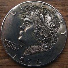 Hobo Nickel: on Eisenhower dollar by Ben Wells Nickel Board, Hobo Nickel, Wells, Art Forms, Sculpture Art, Coins, Carving, Metal, Profile View