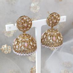 Jhumki Earrings, Dangle Earrings, Diamond Earrings, Antique Gold, Dangles, Beads, Antiques, Pink, Jewelry