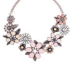 Antique gold-tone necklace of strikingly pretty blossoms made up of different facetted acrylic stones in pink, beige and grey plus rhinestones in peach colour as a highlight. - Necklace - Antique gold-tone - Mothersday...