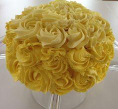 Yellow ombré rose cake by Lauren Farago