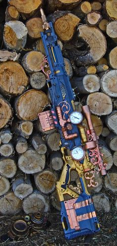 "#steampunk sniper rifle. Any weapon with a clock means ""It's time to die."""