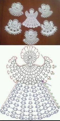 Crochet Angel Pattern, Crochet Socks Pattern, Crochet Square Patterns, Beading Patterns Free, Crochet Diagram, Crochet Crafts, Easy Crochet, Crochet Projects, Crochet Christmas Ornaments