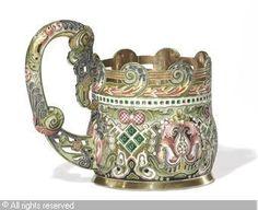 FABERGÉ Karl (Carl), 1846-1920 (Russia) Title : Tea Glass Holder Date : 1896/1908   Category : Enamel Medium : : Silver-Gilt and Cloisonné Enamel