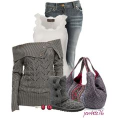 Gray sweater & boots