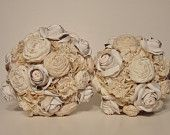 Fabric  Bridal Bouquet, Vintage Flower Bouquet,  Pearls and Lace,  Weddings, Pink Roses - Large. $150.00, via Etsy.