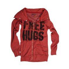 Rebel Yell Free Hugs Superfluous Hoodie in Burgundy ($159) ❤ liked on Polyvore