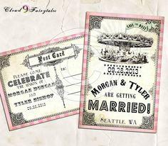 invite vintage carousel | Carousel Save The Date Vintage PostCards Wedding Invitations Vintage ...