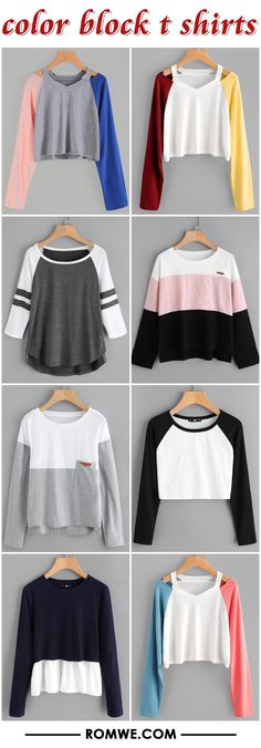 color block t shirts from romwe.com