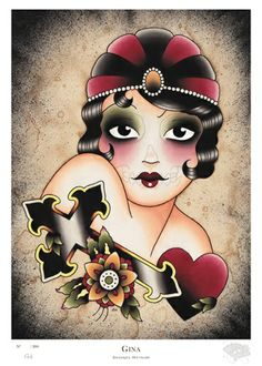 Gina by Angelique Houtkamp flapper Great Gatsby Art Deco style tattoo flash art