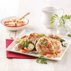 Filet de porc aux poires et vin rouge - 5 ingredients 15 minutes Bacon, Carnivore, Orzo, Pasta Salad, Creme, Food And Drink, Chicken, Ethnic Recipes, Sauce