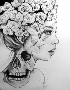 Pin by mikayla on drawings in 2019 ideias para desenho, idei Pencil Art Drawings, Art Drawings Sketches, Cute Drawings, Tattoo Drawings, Body Art Tattoos, Skeleton Drawings, Portrait Tattoos, Portrait Art, Art Halloween