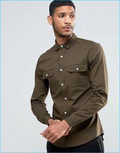 ASOS Men's Skinny Khaki Military Shirt