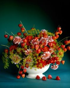 Autumn Palette - A large Staffordshire tureen, fitted with a giant floral frog, is the perfect vessel for a stunning arrangement of three unusual fall blooms: striped dahlias in orange and white, papery Chinese lanterns stripped of all leaves, and dill gone to yellow flower heads.
