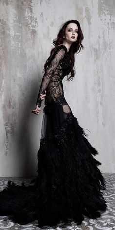 Dark Romance: 24 Gothic Wedding Dresses – Famous Last Words Dark Fashion, Gothic Fashion, Witch Wedding, Geek Wedding, Wedding Ideas, Dark Romance, Bridal Gowns, Wedding Gowns, Black Wedding Dresses