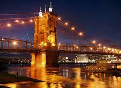Roebling Suspension Bridge - I walked across this bridge from  Cincinatti, OH to Covington,KY
