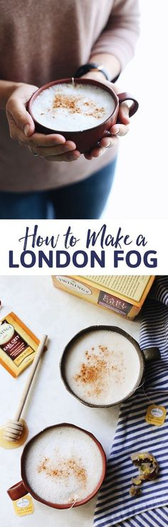 Have you ever wondered how to make a London Fog? It's the ultimate tea latte… Have you ever wondered how to make a London Fog? It's the ultimate tea latte recipe with a hint of sweetness and boost of caffeine. Perfect for cold winter mornings or afternoon Yummy Drinks, Healthy Drinks, Yummy Food, Healthy Recipes, Healthy Smoothies, Tasty, Vegetarian Recipes, Healthy Food, The Healthy Maven